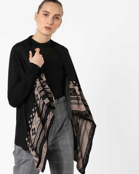 Printed Waterfall Shrug By Ginger By Lifestyle ( Black )