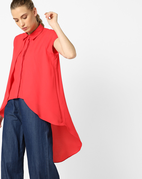 Panelled Top With Asymmetric Hemline By AJIO ( Red )