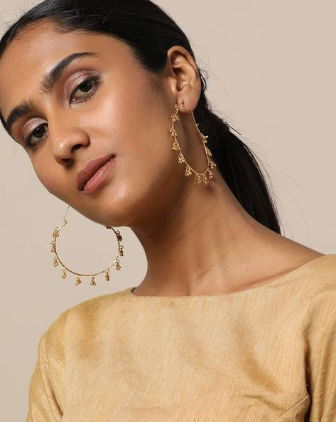 Gold-Plated Hoop Designer Earrings By Rubans ( Gold )