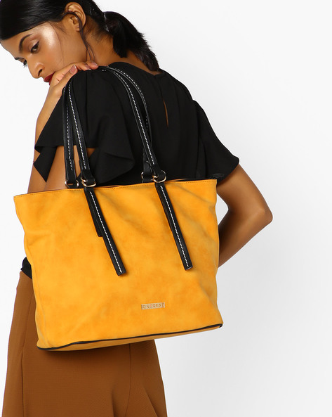 Delphy Tote Bag With Belted Handles By CAPRESE ( Ochre )