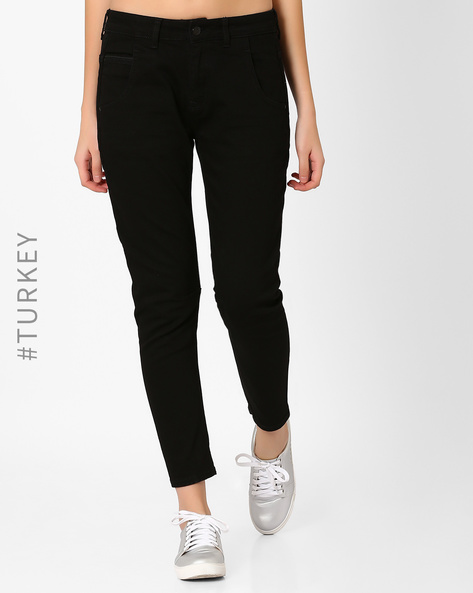 Ankle-Length Jeans With 5-Pockets By Cross Jeans ( Black )