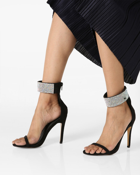Stiletto Heels With Embellished Ankle Straps By Truffle Collection ( Black )