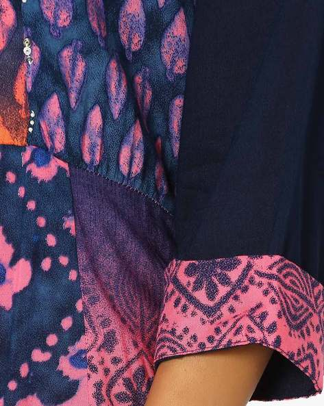 Block Print Layered Kurta By Shree ( Pink )