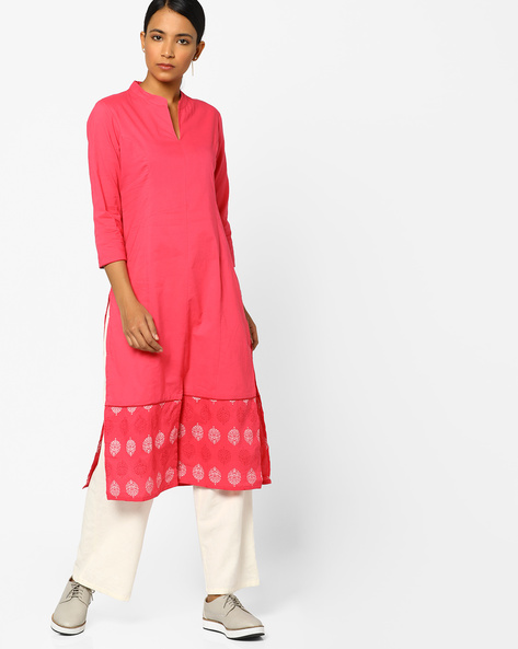 Straight Kurta With Printed Panel By AJIO ( Pink )