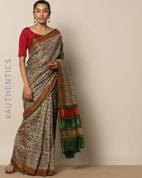 Pure Silk Diamond Jaal Print Saree By Rudrakaashe-MSU ( Multi )