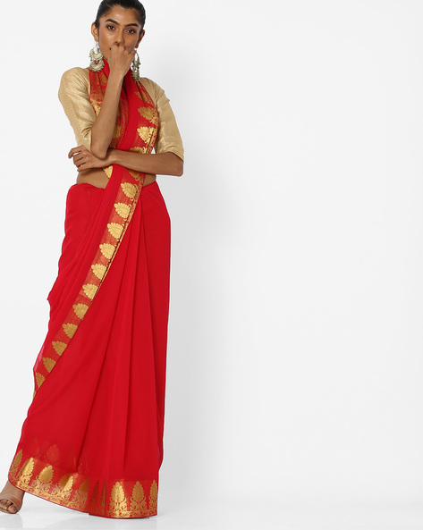 Saree With Contrast Border By CHHABRA 555 ( Red )