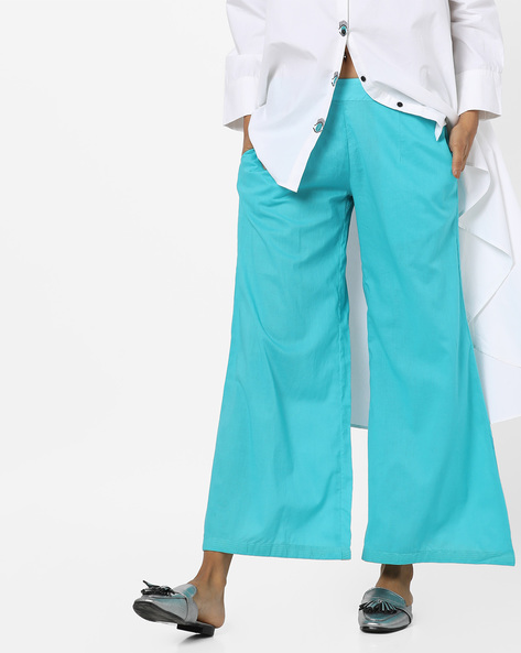 Palazzo Pants With Side Pockets By AJIO ( Teal )
