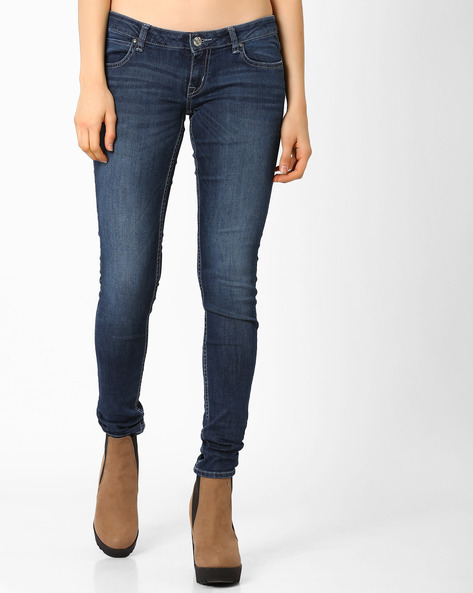 Lightly Washed Skinny Jeans By Lee ( Blue ) - 460030633003