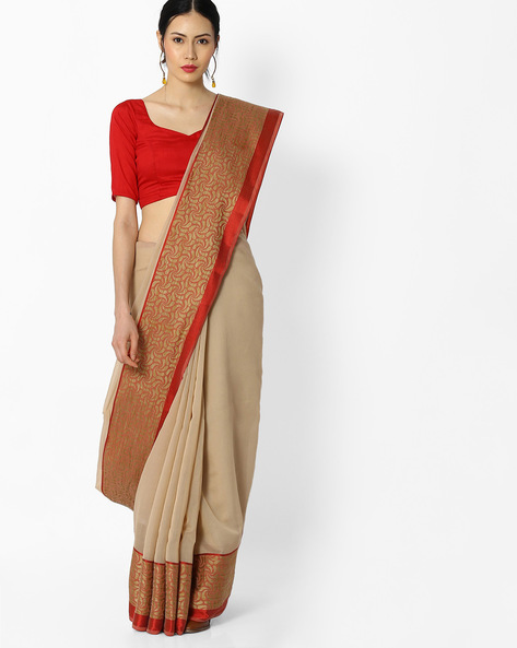 Cotton Saree With Printed Border By Amori ( Beige )