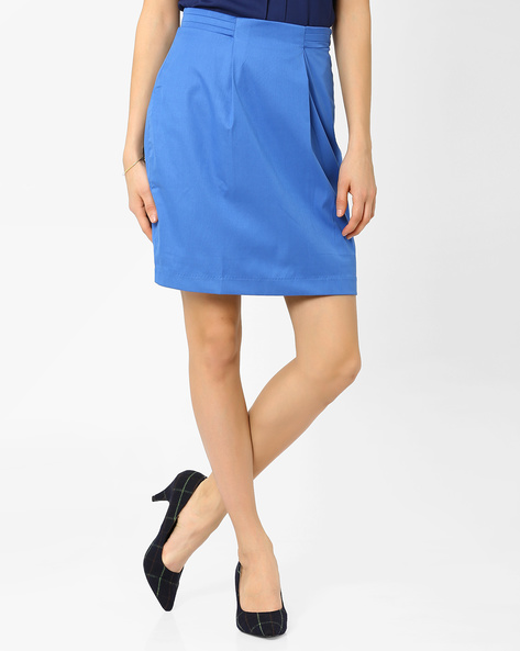 Skirt With Panelled Waistband By AJIO ( Blue )