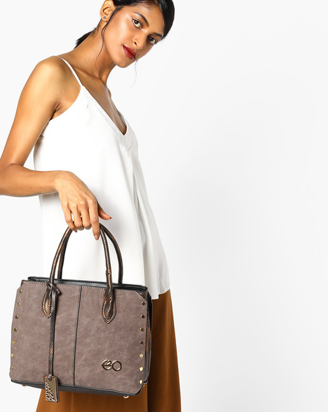 Textured Satchel Bag With Detachable Sling By E2O ( Coffee )