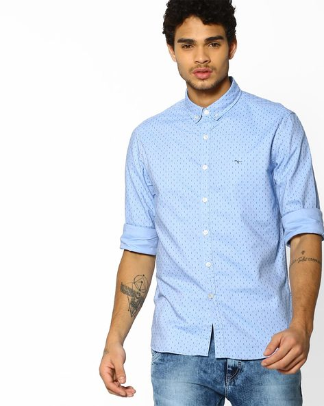 Micro Print Shirt With Button-Down Collar By FLYING MACHINE ( Blue )