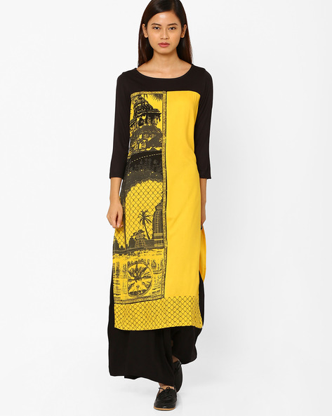 Printed Straight Kurta By AURELIA ( Yellow )