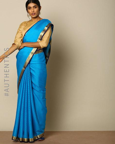 Mysore Silk Crepe Embossed Saree With Zari Border By Indie Picks ( Teal )