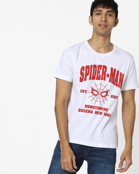 Spiderman Print T-shirt By Souled Store ( White )