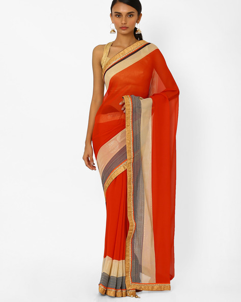 Semi-Sheer Saree With Contrast Border By Akoya ( Red )
