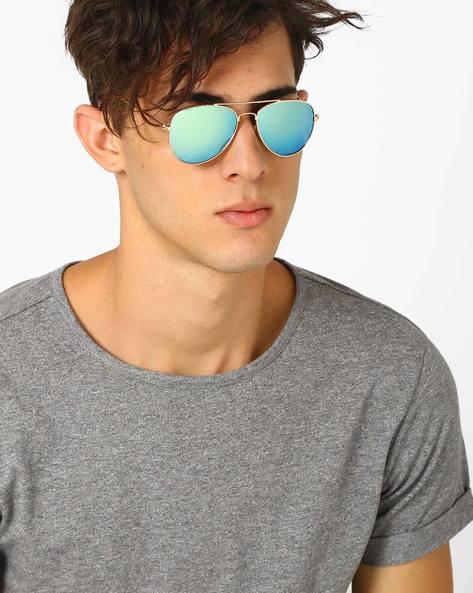 Mirrored Aviator Sunglasses By ALPHA MAN ( Blue ) - 460068344001