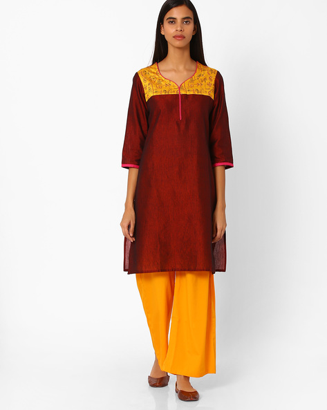 Relaxed Fit Kurta With Contrast Yoke By Rangmanch By Pantaloons ( Maroon )