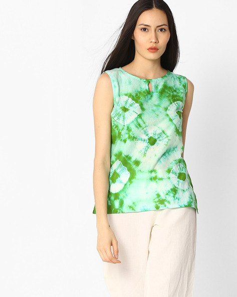 Tie-Dye Print Cotton Top By Jaipur Kurti ( Green )