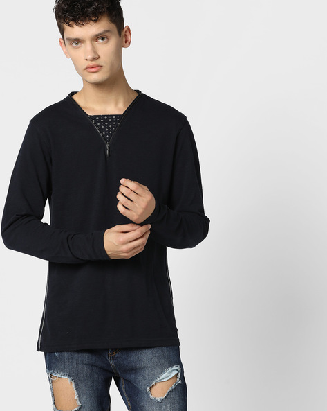 Cotton T-shirt With Zip Collar By DNMX ( Navy )
