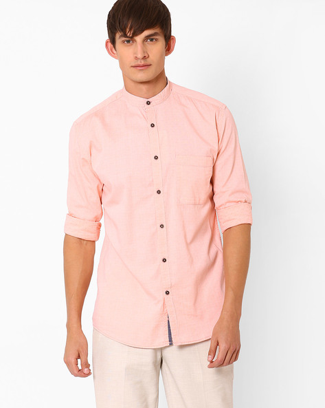 Slim Fit Shirt With Mandarin Collar By Nature Casuals ( Orange )