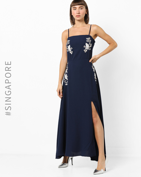 Strappy Maxi Dress With Embroidery By MDS ( Blue )