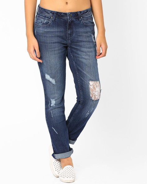 Distressed Jeans With Lace Detail By AJIO ( Blue )