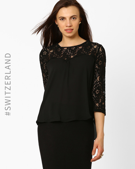 Top With Lace Detail By TALLY WEiJL ( Black )