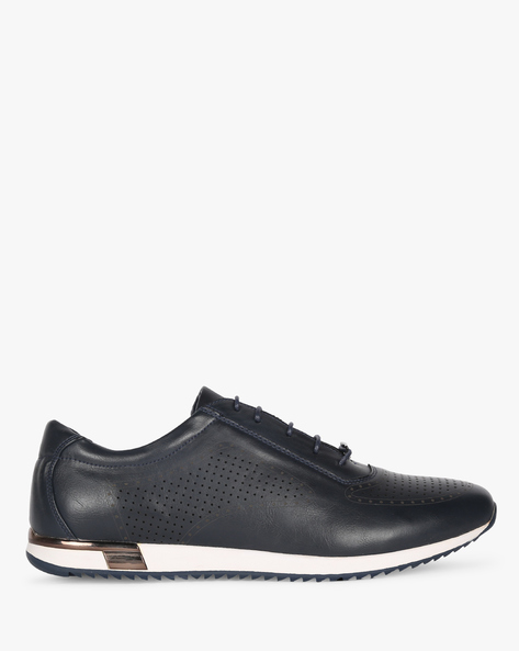 Lace-Up Sneakers With Perforations By DUKE ( Navy )