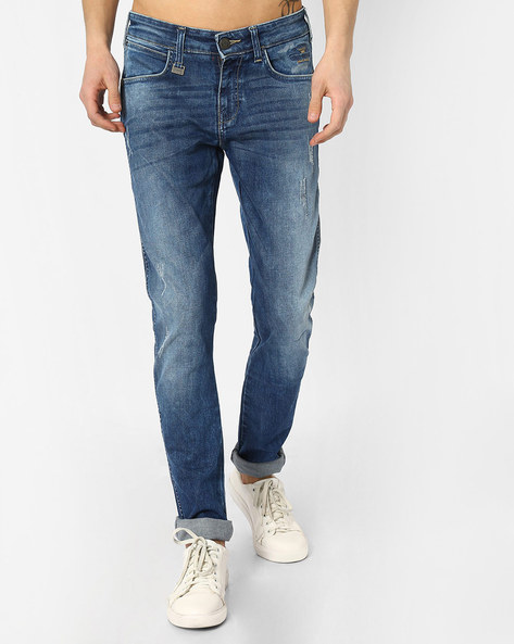 Low-Rise Skinny Fit Distressed Jeans By WRANGLER ( Blue )