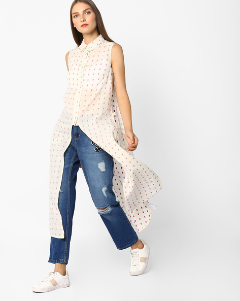 Printed Shirt Tunic By Oxolloxo ( Offwhite )