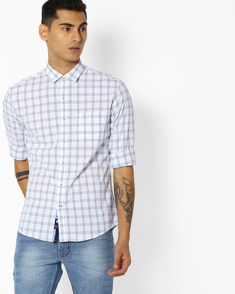 Checked Shirt With Curved Hem By NETPLAY ( Blue ) - 440767726002