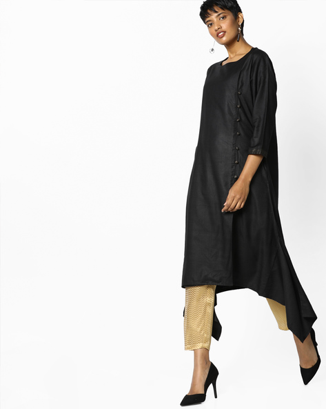 Straight Kurta With Asymmetrical Hem By Project Eve IW Evening ( Black )