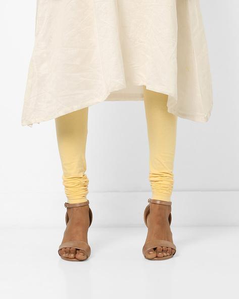 Churidar Leggings With Elasticated Waist By AJIO ( Yellow )