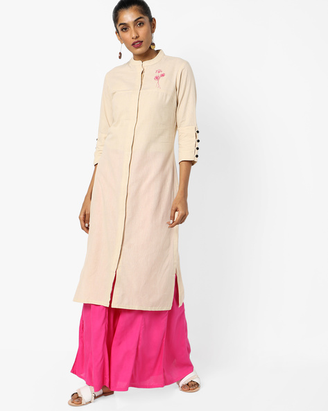 Straight Kurta With Mandarin Collar By AJIO ( Offwhite )