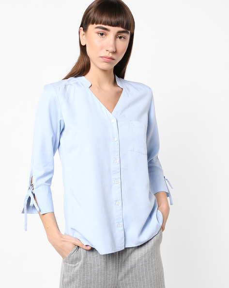 High-Low Shirt With Tie-Up Sleeves By AJIO ( Blue )