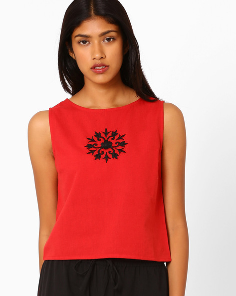 Sleeveless Crop Top With Embroidery By AJIO ( Maroon )