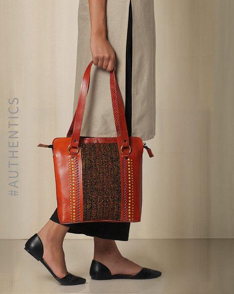 Kutch Cutwork Mashru Leather Handbag By Indie Picks ( Brown )