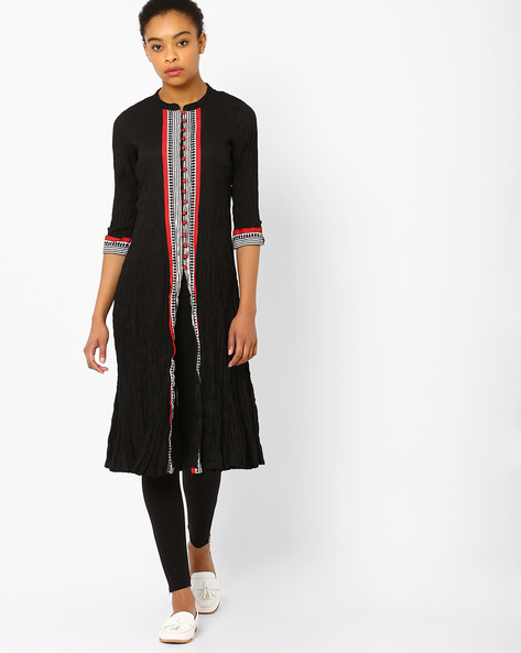 Crushed Cotton Kurta With Printed Panels By AVAASA MIX N' MATCH ( Black )