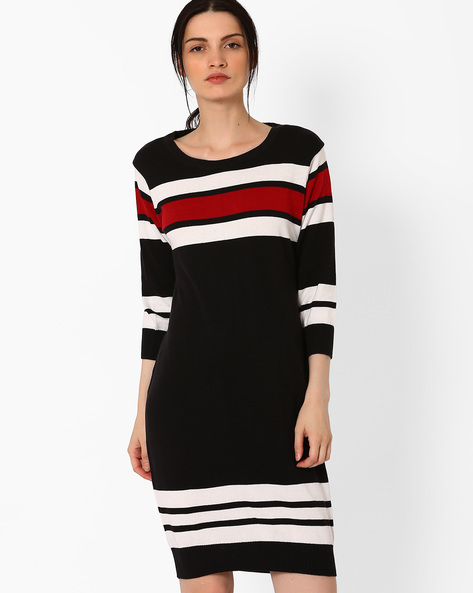 Striped Cotton Knit Dress By TEAM SPIRIT ( Black )
