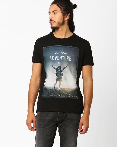 Graphic Print Cotton T-shirt By AJIO ( Black )