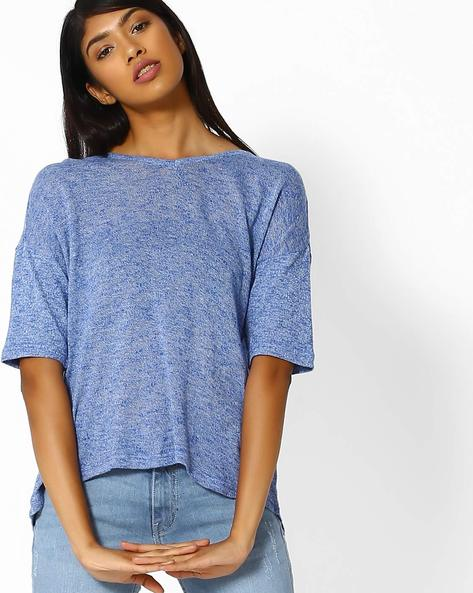 Heathered Top With Drop Shoulders By DNMX ( Blue )