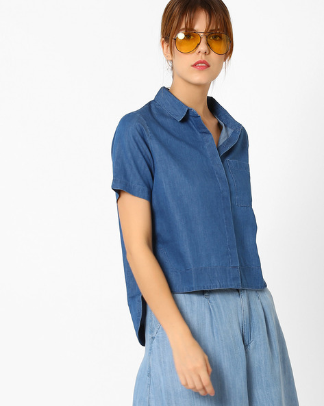 Boxy Top With High-Low Hem By AJIO ( Blue )