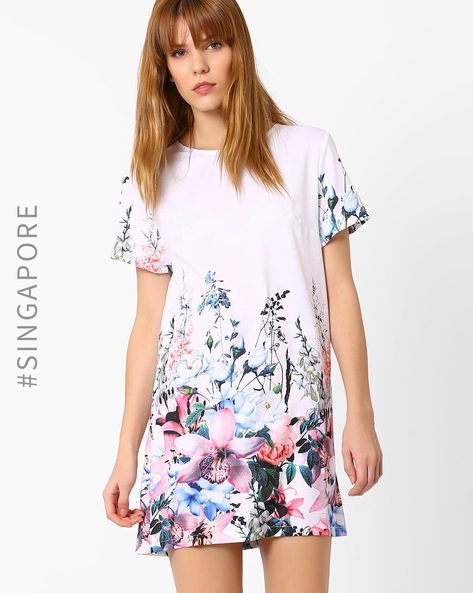 Floral Print Shift Dress By MDS ( White )