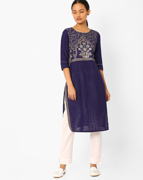 Printed Straight Kurta By AURELIA ( Purple )