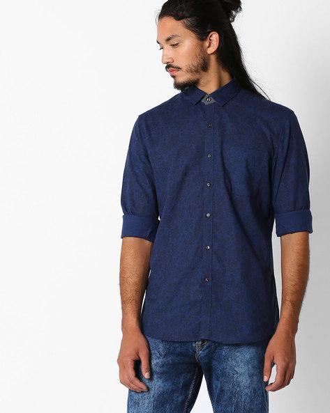 Regular Fit Printed Shirt By NETPLAY ( Navy )