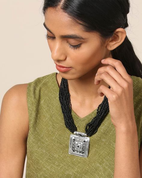 Multi Strand Glass Bead Necklace With Pendant By IMLI STREET ( Black )