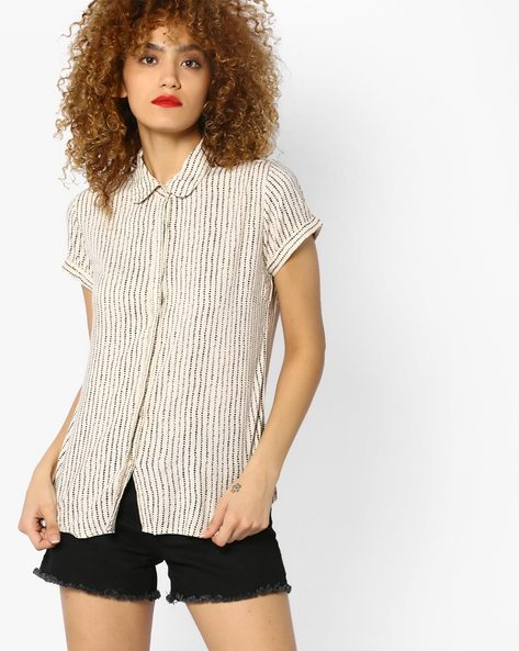 Printed Top With Upturned Hems By BOSSINI ( White )