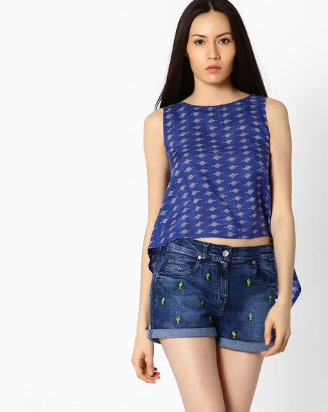 Printed Top With Back Waterfall Hem By Global Desi ( Blue )