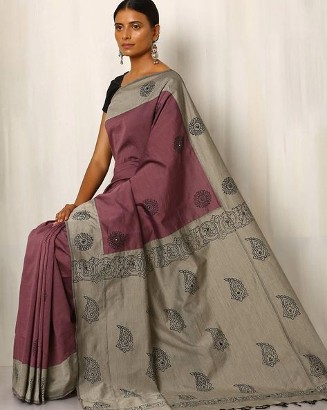 Handblock Print Saree With Contrast Pallu By Indie Picks ( Purple )